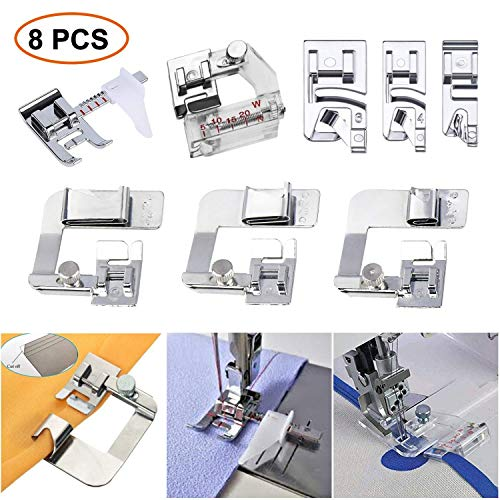 Sewing Machine Feet 3Pcs Rolled Hem Pressure Foot,3Pcs Narrow Rolled Hem Presser Feet & Adjustable Guide Presser Foot, Bias Binder Foot Compatible with Brother, Singer, Janome (8)