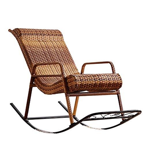 Sillón Mecedora Relax Mecedora, silla de ratán natural, elegante salón trasero de la silla balancín al aire libre silla perezosa Balcón, transpirable y estable fresca y material duradero Protección de