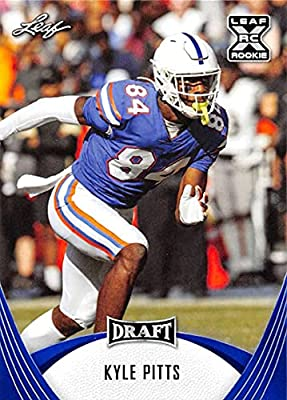 2021 Leaf Draft Blue #24 Kyle Pitts Florida Gators XRC Official Pre Draft Football Rookie Card in Raw (NM or Better) Condition