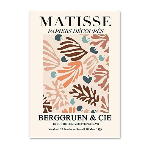 Poster de Matisse Plantas Tropicales abstractas Lienzo Arte de la Pared Flores Marrones Pintura Impresiones Vintage Sala de Estar Matisse Cuadros Decoracion 40x60cmx1 Sin Marco