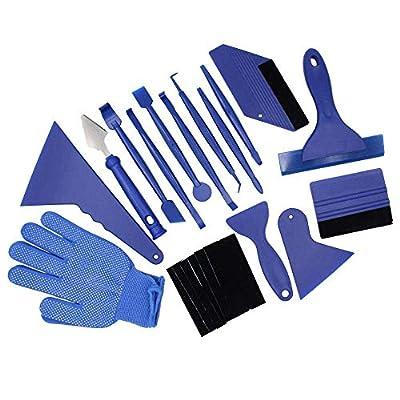 Elikliv 21pcs Bleu Carbone Fibre Emballage Vinyle Voiture Outil Kit , Autocollant Film Grattoir Auto Emballage Vitre Teintée Accessoires
