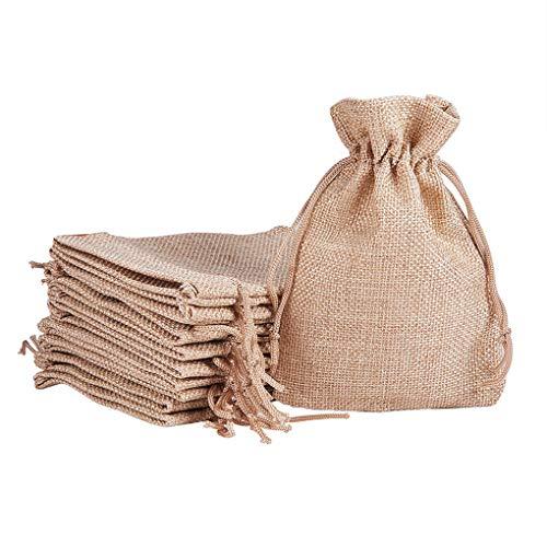 Laileya 20pcs/Set Linen Drawstring Bag Jewelry Gift Pocket Jewellery Small storage bag Pouch Snacks Storage Pack