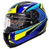 HNLong Casco moto elettrico Casco integrale Casco da corsa Karting Casco da gara Casco integrale da corsa-Blu giallo_XL