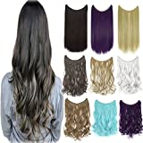 Invisible Wire No Clips in Synthetic Hair Extensions Secret Fish Line Long Wave Straight Hairpiece By Online