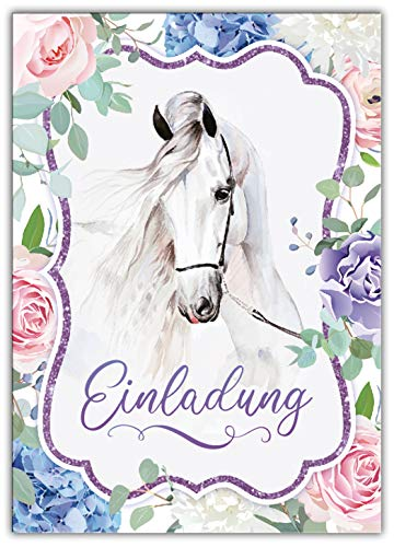 Junaversum 12 Einladungskarten zum Kindergeburtstag Mädchen Pferd Einladungen zum Geburtstag Kinder