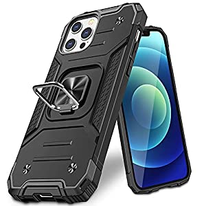 Vakoo for iPhone 12/iPhone 12 Pro Case Cover, Military Grade Protective iPhone 12 Case with Kickstand - Support Magnet Mount (Black)