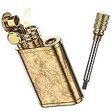 VVAY Vintage Messing Benzinfeuerzeug, Retro Petroleumfeuerzeug mit Streichholz (Verkauft ohne Benzin)