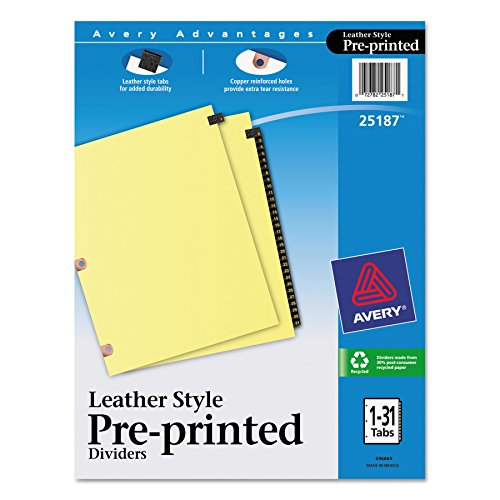 Avery 25187 Preprinted Black Leather Tab Dividers w/Copper Reinforced Holes, 31-Tab, Letter