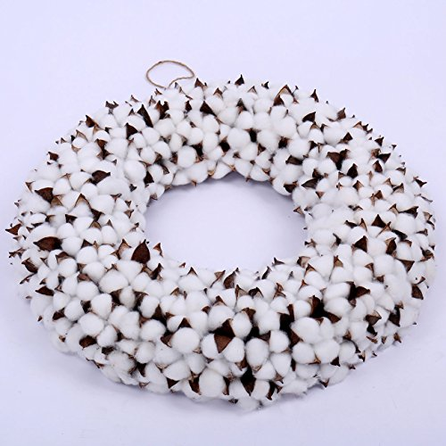 """Cotton Wreath - 18"""" Farmhouse Full White Fluffy Cotton Boll Wreath Stem Branches for Front Door, Wall Welcome Decor for Hallway & Entryway"""