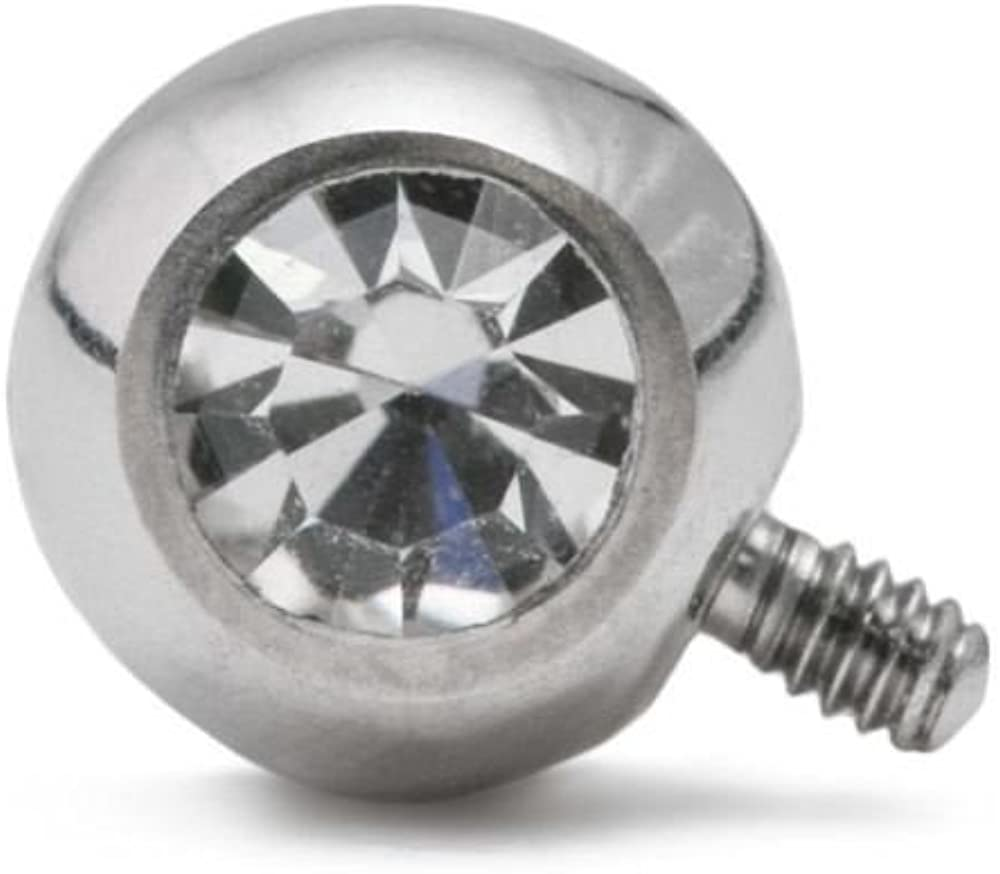 Painful Pleasures 14g-12g Internally Threaded 90° Swarovski Jeweled Steel Ball – 5mm – Price Per 1