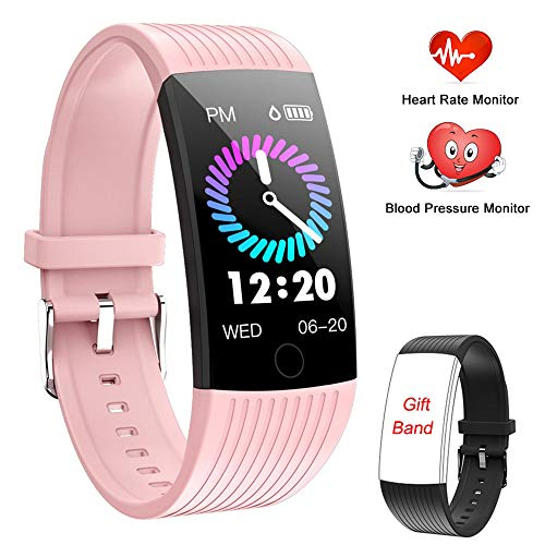 Fitness Tracker HR,Activity Tracker with Heart Rate Monitor,1.14 Color Screen Smart Watch Pedometer Watch Blood Pressure Monitor Sleep Monitor Fitness Watch,Calories Tracker IP67 (Pink+B)