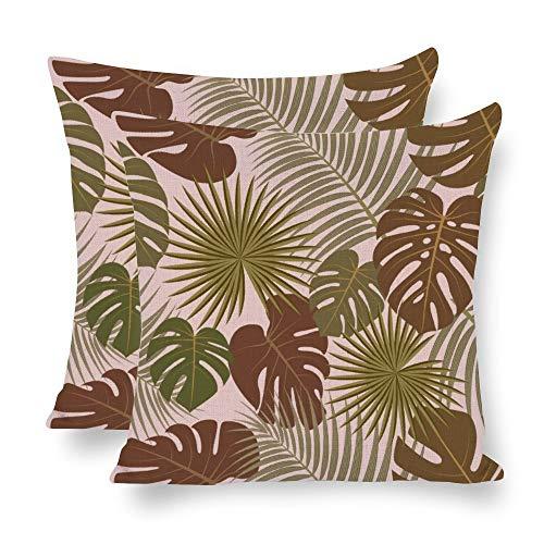 Juego de 2 fundas de almohada con diseño de palmeras tropicales de palmeras de color marrón y verde con guirnaldas de lino, de doble cara, 45 x 45 cm, con 2 hojas de palma, para sofá, cama, sillas, etc.