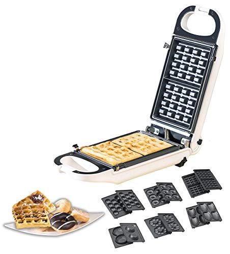 Rosenstein & Söhne Waffeleisen: 6in1-Snack-Maker, auswechselbare Formen, antihaftbeschichtet, 700 Watt (Küchenmaschine)