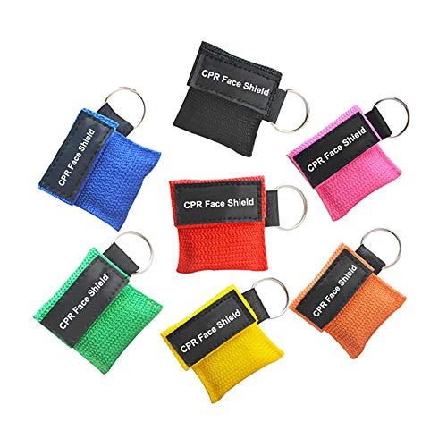 KAIGE 7pcs Cpr Maske Schlüsselanhänger CPR Face Shield Erste Hilfe -Cpr Life Key zufällige Farbe für Oder AED Training CPR Maske Schlüsselanhänger,Keychain-Maske Pocket mask