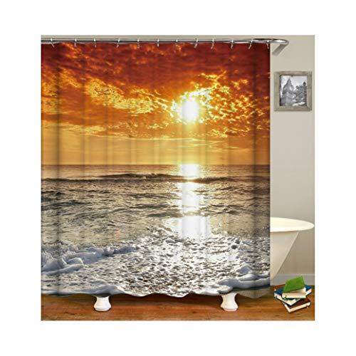 Knbob Polyester Duschvorhang Meer und Sonnenuntergang Badewanne Vorhang 165x200CM mit 12 Duschvorhangringen