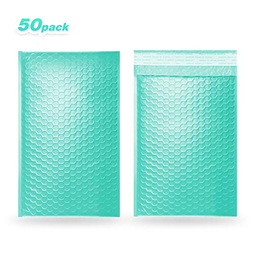 Pack 50 KREAXON 4x8 inches Bubble Mailers Padded Envelopes Padded Shipping Bags Waterproof Poly Bubble Mailer (Teal,#000)