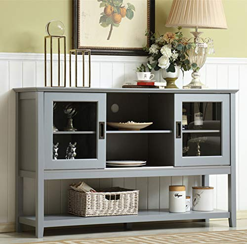 """Mixcept 55"""" Modern and Contemporary Sideboard Buffet Cabinet Wood Console Table Storage Cabinet with Sliding Doors Kitchen Dining Room Furniture, Gray"""