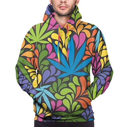 Nahtloses Muster des Kapuzenpullis der Männer mit Cannabisblättern. Retro 70er Jahre Stil Vektor-Illustration Sweatshirt XXL