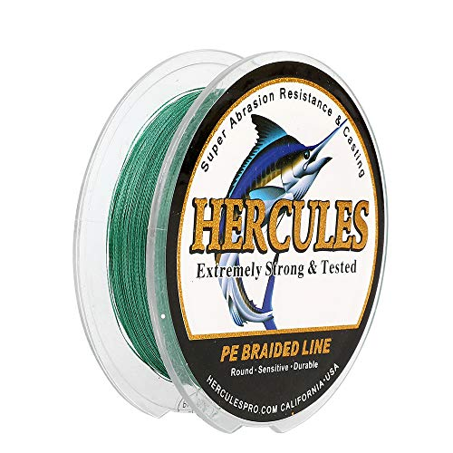 HERCULES Super Strong 1000M 1094 Yards Braided Fishing Line 40 LB Test for Saltwater Freshwater PE Braid Fish Lines 4 Strands - Green, 40LB (18.1KG), 0.32MM