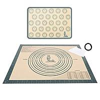 2枚セット 大きいサイズクッキングマット シート シリコン 製菓マット道具 目盛り付き 50×40cm マカロン/パン/クッキー/ピザ ベーキングマット キッチン 調理 耐熱 テーブルマット グレー