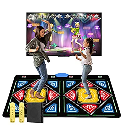 Double Dance Mats for Kids Boys&Girls, 168pcs Games and 32pcs MV Songs for HDMI TV Fun, Fitness Dance Games with MV/3D/Cartoon Dance Mode, Preloaded Classic Songs&Games,Flannel Material,Non-Slip by Elikliv