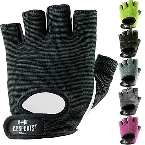 C.P.Sports Power-Handschuh, Allround-Fitnesshandschuh – waschbare Trainingshandschuhe, Gym Gloves für Bodybuilding, Kraftsport, Fitness, Crossfit, Radfahren, Sport – schwarz XXL