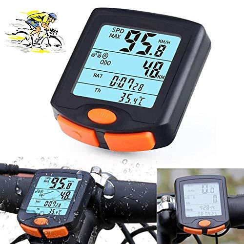 XIYAN Inalámbrico velocímetro Bici del odómetro, 24 función Impermeable del velocímetro LCD de Pantalla Grande retroiluminación usada para Mountain Bike Riding Medición de Velocidad