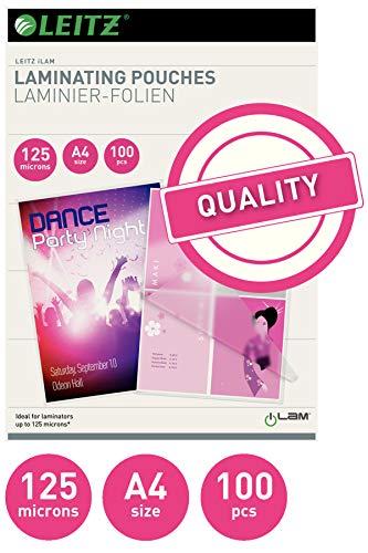 Leitz Heißlaminierfolien, Glänzend, transparent, A4, Folienstärke 125 mic, 100er Pack, 33808