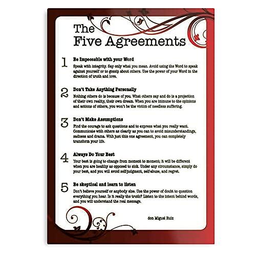 Four Help Inspiration Motivation Motivational Miguel Quote Toltec Self Agreements The Ruiz Don - Il miglior e più recente poster per la decorazione di arte da parete I