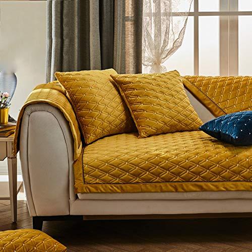GE&YOBBY Modernen Wildleder Sofabezug,1 Stück Dick Flanell Sofa-Protektor,weich Geometrische Couch-Abdeckung Für 1-3-sitzer-sofa Haustiere Ledersofa Gelb 90x240cm