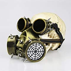Ulalaza Steampunk Gas Goggles Mask Retro Gothic Punk Zombie Soldiers Skull Mask for Halloween Cosplay Props #1