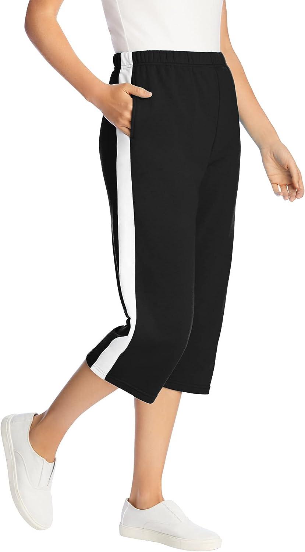 Woman Within Women's Plus Size Side Stripe Cotton French Terry Capri
