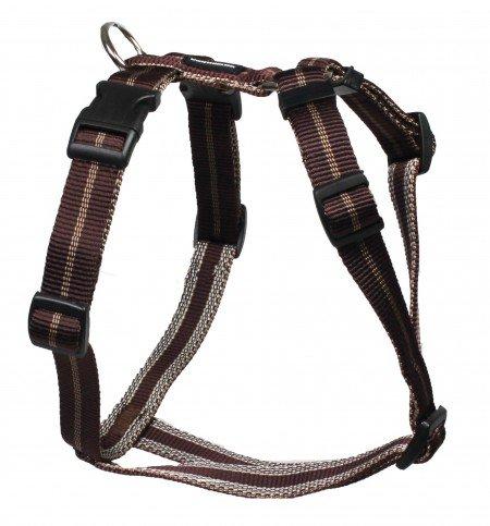 Feltmann Mopsgeschirr Hundegeschirr Soft Nylon, Braun mit Streifen, 5-9 kg, 15mm