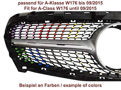 Diamantgrill Folien Sticker für Mercedes A-Klasse W176 AMG Grillaufkleber (Schwarz)