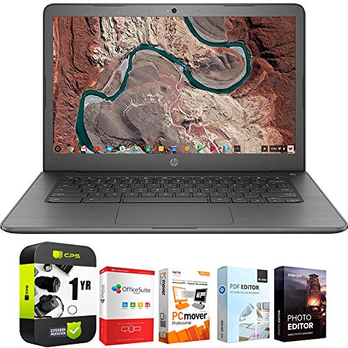 "HP 14-ca000nr Chromebook 14"" Intel Celeron N3350 4GB RAM 32GB Laptop Bundle w/Elite Suite 18 Software (Office Suite Pro, Photo Editor, PDF Editor, PCmover Pro) + 1 Year Protection Plan"