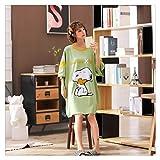 Schlafanzug Nachthemden Plus Size 4XL Loose Women Nachthemd aus 100% Baumwolle Nette Erdbeere Druck Nightgown Dame-Sommer-Nachtwäsche Nachtwäsche (Color : Green Snoopy, Size : L)
