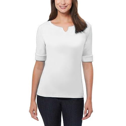 04e3d5986e75 Ellen Tracy Women's Pima Cotton/Lycra V-Neck Cuff Sleeves T-Shirt