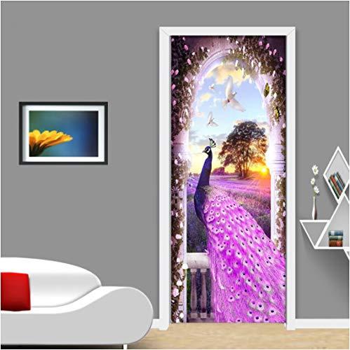 ZPCR Wallpaper Modern Purple Peacock Dream Lavender Romantic Fashion Murals 3D Door Sticker Living Room Bedroom PVC Waterproof Decor