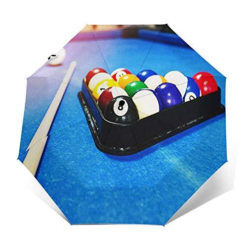 Paraguas Plegable Automático Impermeable Mesa de Billar Fresca, Paraguas De Viaje Compacto...