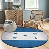 NiYoung Premium Fashion Round Area Rugs Throw Rugs Super Soft Flannel Non-Slip Floor Carpet 5ft Diameter for Bedroom Living Room Nursery Decor (Honduras Flag)