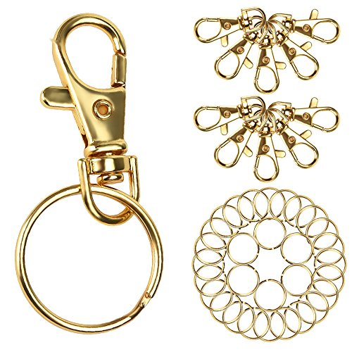 Outus 55 Pieces Lobster Claw Clasps Findings 25 Pieces with Keychain Rings 30 Pieces