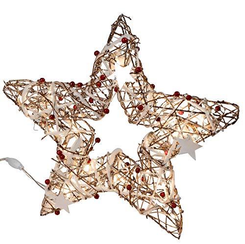dekojohnson Deko LED kerstster staand met 40 LED-lampjes met witte sterretjes en parels versierd kerstster 40 cm groot