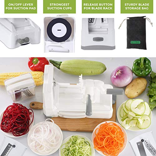 Product Image 5: Spiralizer Ultimate 10 Strongest-and-Heaviest Duty Vegetable Slicer Best Veggie Pasta Spaghetti Maker for Keto/Paleo/Gluten-Free, With Extra Blade Caddy & 4 Recipe Ebook White