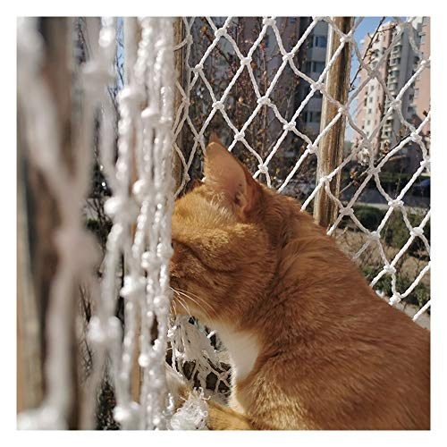 Rete anticaduta per animali domestici Rete di sicurezza per gatti Rete da recinzione Protezione anticaduta Ringhiere per scale Scale Corda intrecciata per esterni in nylon Bianco 6mm,5cm,4x2M(13x7ft)