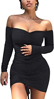 Best off the shoulder bodycon mini dress Reviews