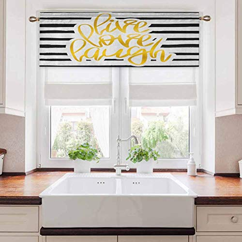 Aishare Store Thermal Insulated Window Curtain Valance, Romantic Design with Hand Drawn Stripes and Calligraphic Text, 36' W x 18' L Decor for Kitchen,brathroom,Living Room, Black White Earth Yellow