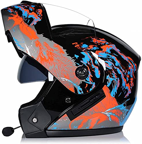 WANGFENG Casco de motocicleta con doble visera con Bluetooth, para adultos y jóvenes, casco integral de cuatro estaciones para todo terreno, casco de moto Crash, aprobado por DOT, 55-62 cm
