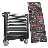 F-BD Black Red Edition | Chariot à outils * * Servante d'atelier 6tiroirs / 4remplis d'outils | Jeux d'embouts, cliquets, écrous et plus encore...