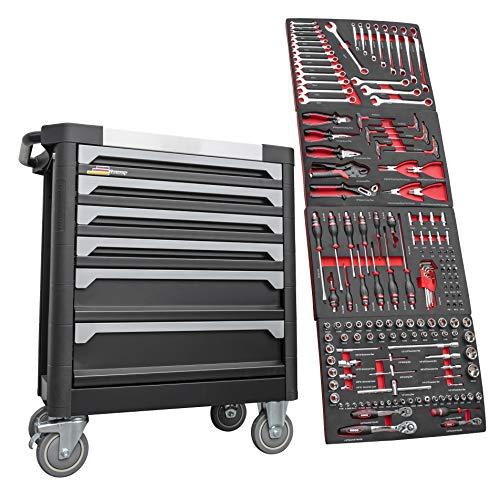 F-BD Black Red Edition | Werkzeugwagen * Werkstattwagen * 6 Schubladen / 4 gefüllt mit Werkzeug | Bit Sets, Ratschen, Nüsse und vieles mehr.