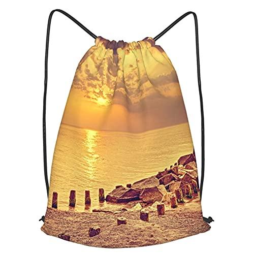 AndrewTop Bolsa Cuerdas con cordón impermeable Unisex,Espectacular puesta de sol en tonos...